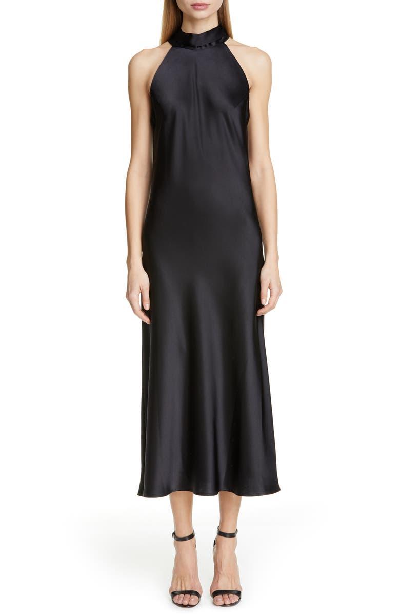 GALVAN Satin Halter Neck Dress, Main, color, BLACK