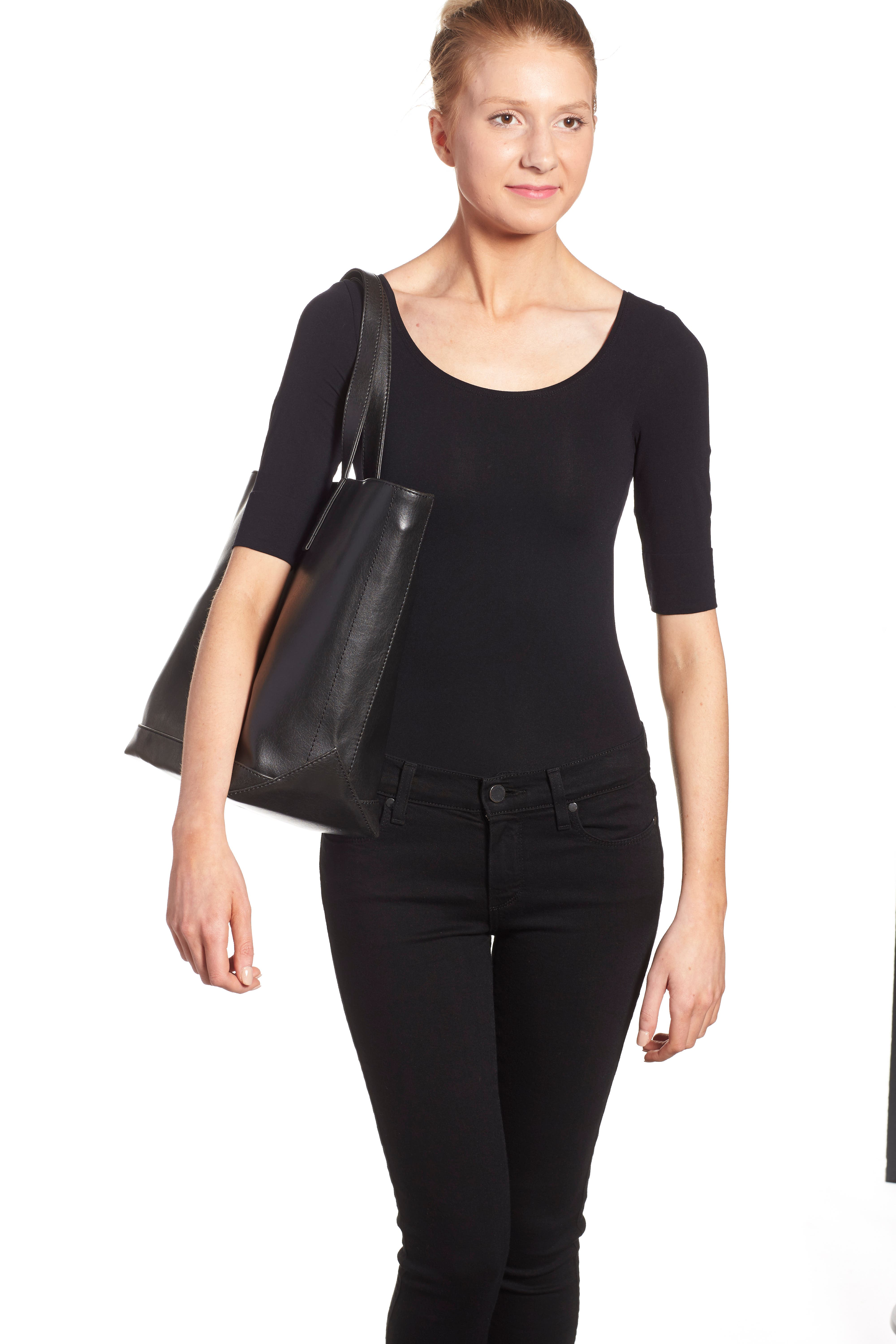 ,                             'Schlepp' Faux Leather Tote,                             Alternate thumbnail 2, color,                             BLACK