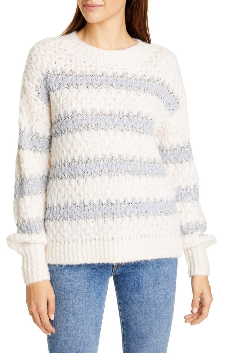 REBECCA TAYLOR Metallic Stripe Crewneck Sweater, Main, color, SNOW/ SMOKE COMBO