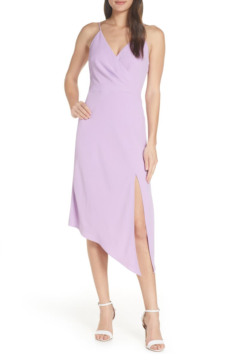 FINDERS KEEPERS Mae Asymmetrical Hem Midi Dress, Main, color, ORCHID