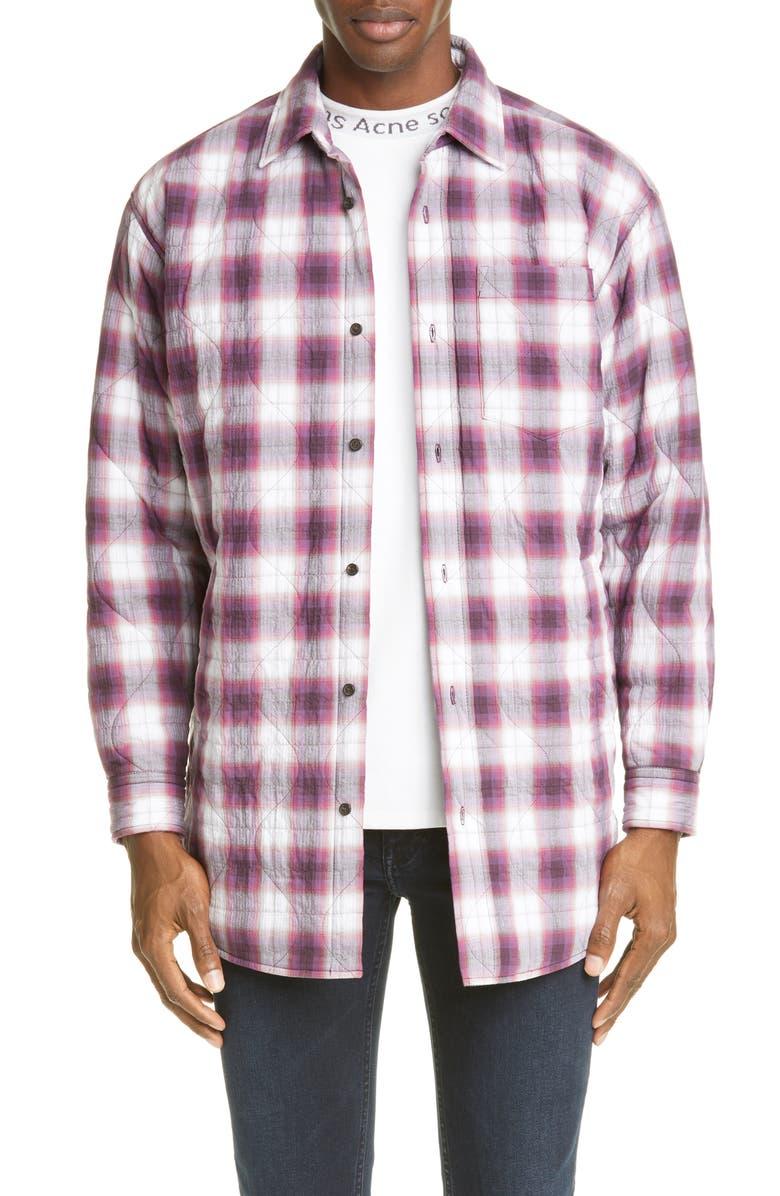ACNE STUDIOS Sakari Plaid Longline Quilted Shirt Jacket, Main, color, AUBERGINE/WHITE