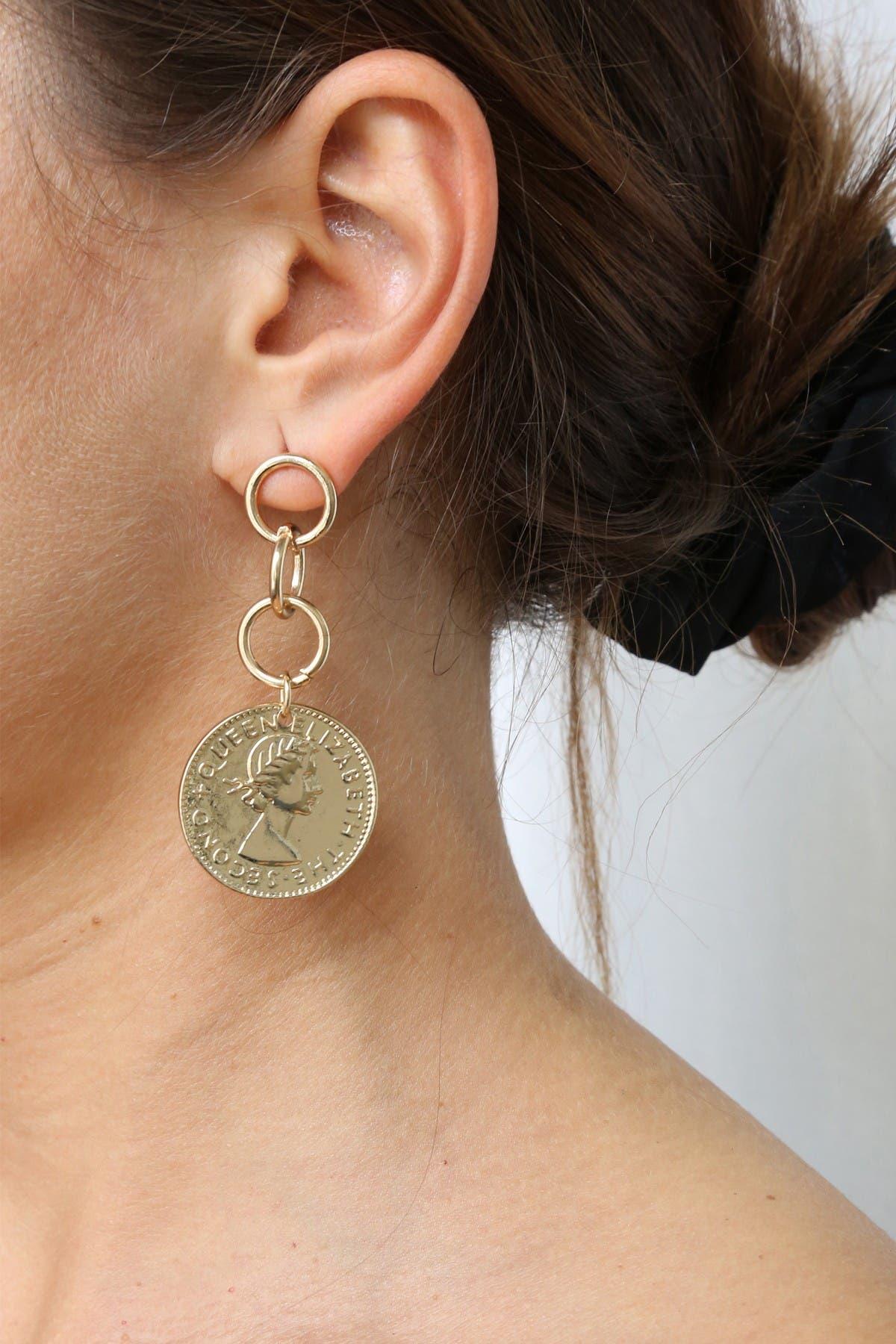 Image of Ettika 18K Gold Plated Coin Stopper Earrings
