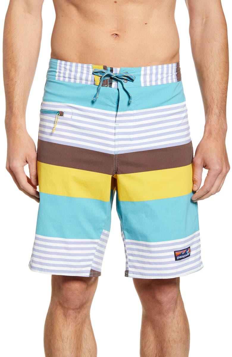 PATAGONIA Wavefarer Board Shorts, Main, color, FITZ STRIPE: DAM BLUE