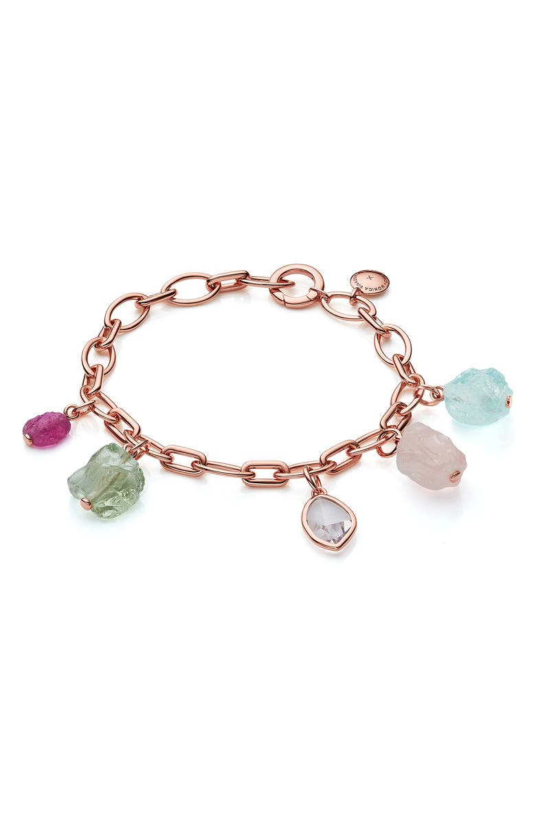MONICA VINADER x Caroline Issa Gemstone Charm Bracelet, Main, color, ROSE GOLD