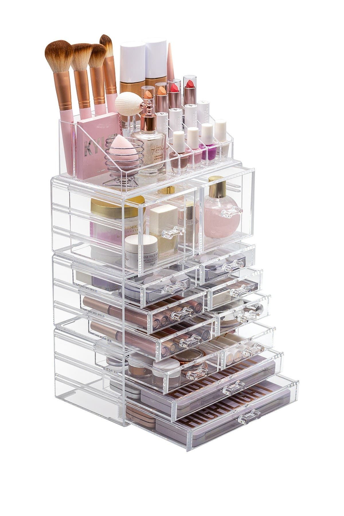 Image of Sorbus Clear Cosmetic Makeup & Jewelry Storage Case 4-Piece Set