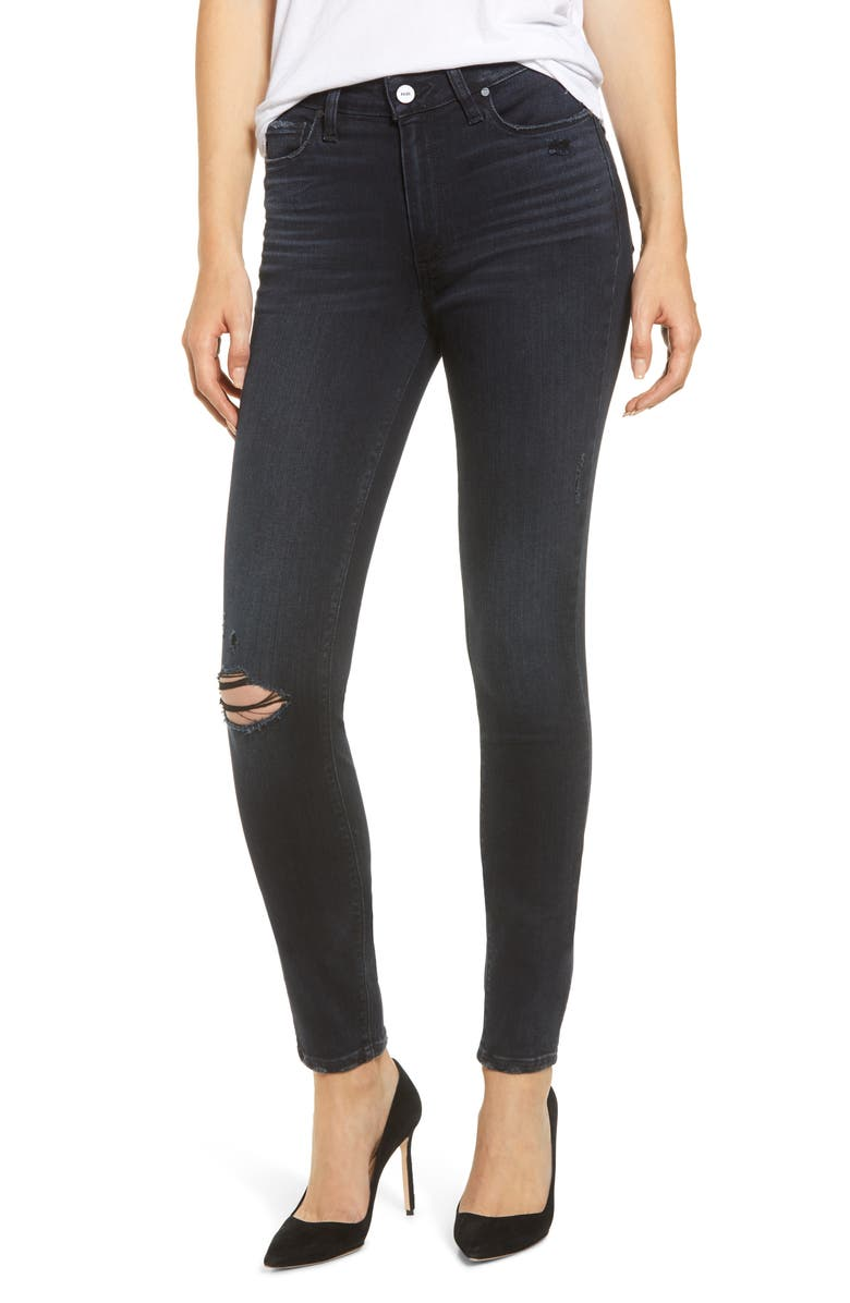 PAIGE Transcend - Hoxton High Waist Ripped Ultra Skinny Jeans, Main, color, BLACK LAVA DESTRUCTED