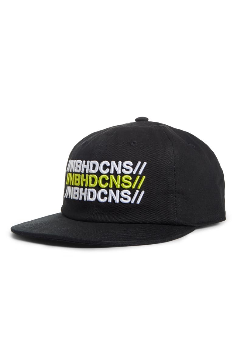 CONVERSE x NEIGHBORHOOD Embroidered Twill Baseball Cap, Main, color, BLACK