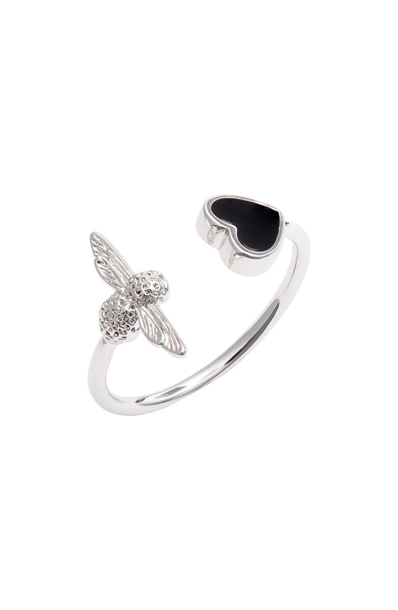 OLIVIA BURTON Love Bee Ring, Main, color, BLACK/ SILVER
