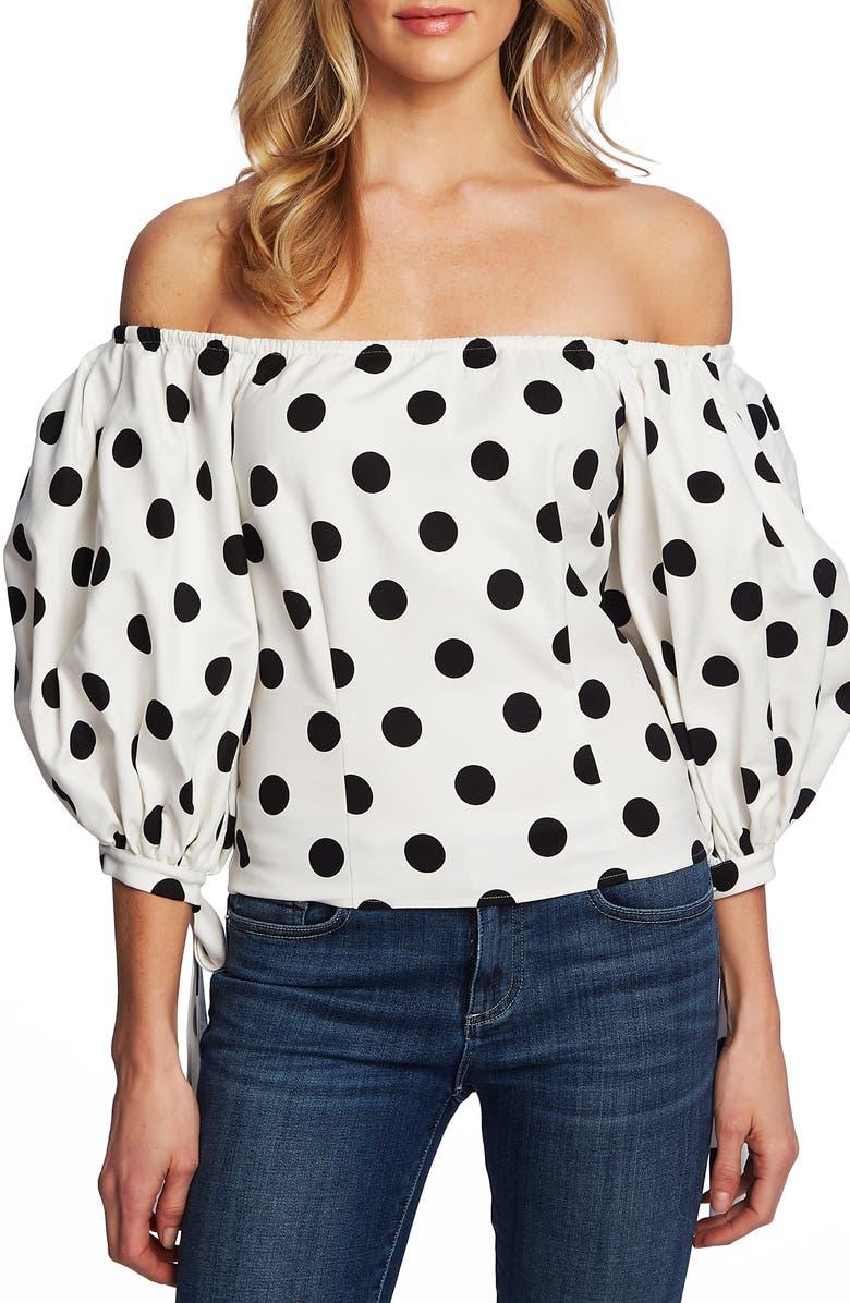 CECE Dappled Dots Off the Shoulder Stretch Cotton Blouse, Main, color, SOFT ECRU