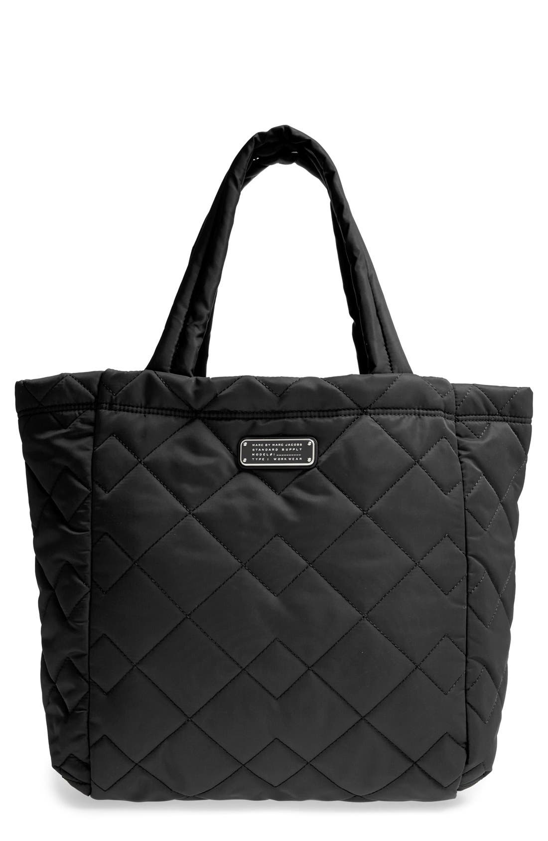 MARC BY MARC JACOBS 'Crosby' Quilted Nylon Tote, Main, color, 001
