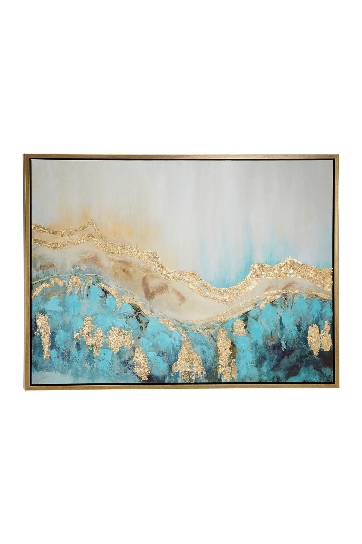 Willow Row Large Turquoise & Gold Contemporary Abstract Painting In Metallic Gold Wood Frame - 47.5\\\