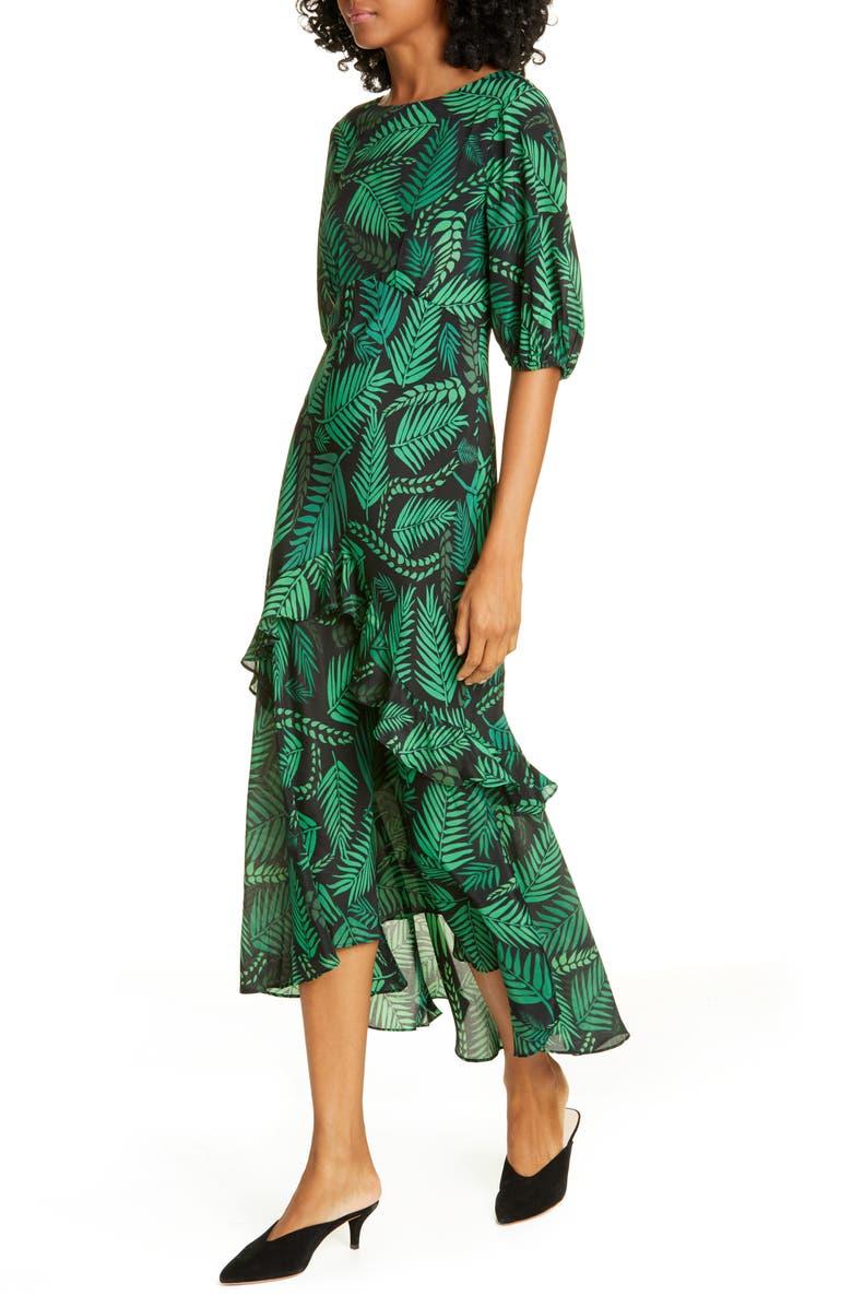 RIXO Cheryl Palm Leaf Print Silk Blend Midi Dress, Main, color, CUBA PALM