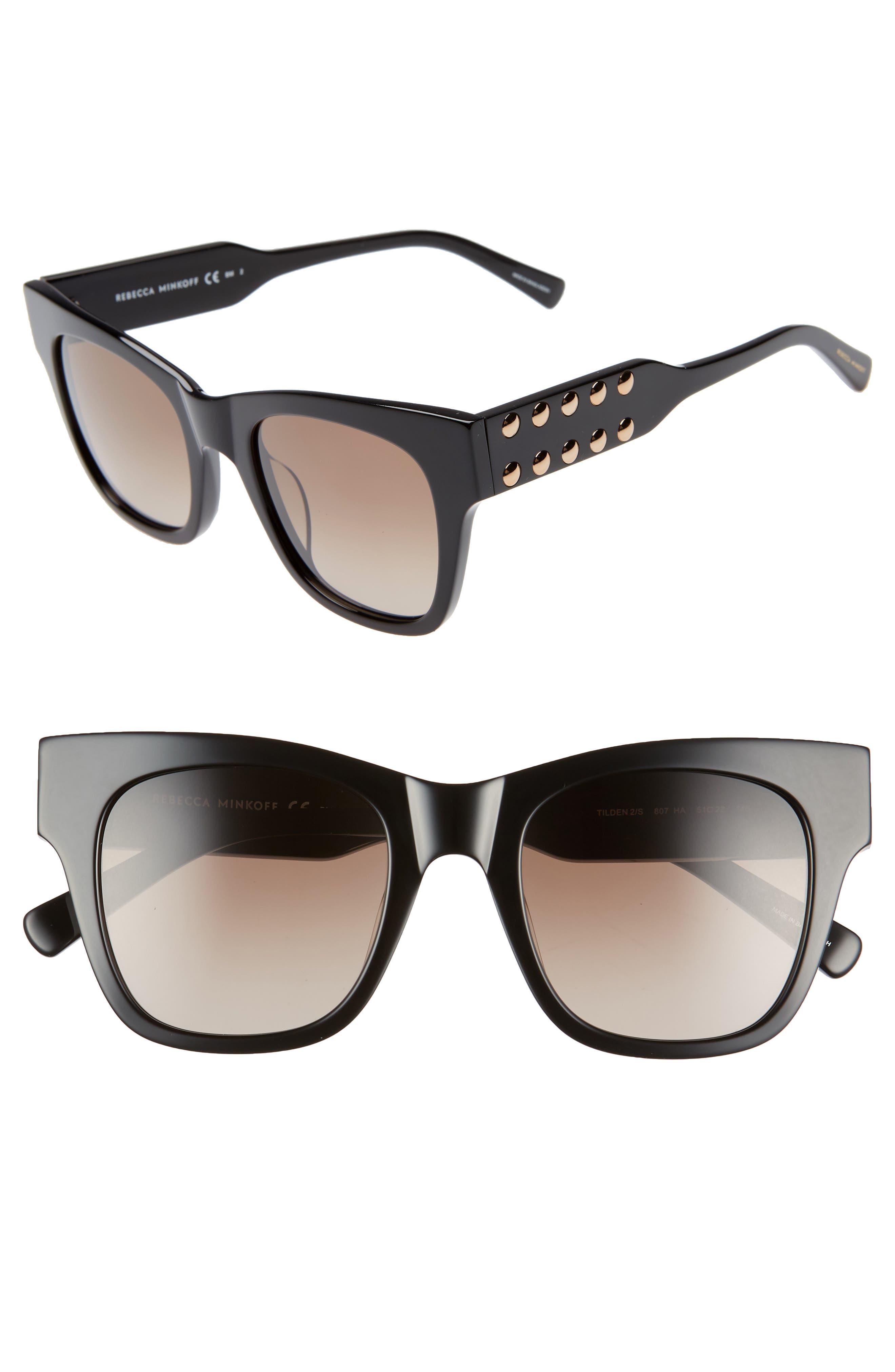 Tilden 2 51mm Gradient Square Sunglasses, Main, color, BLACK