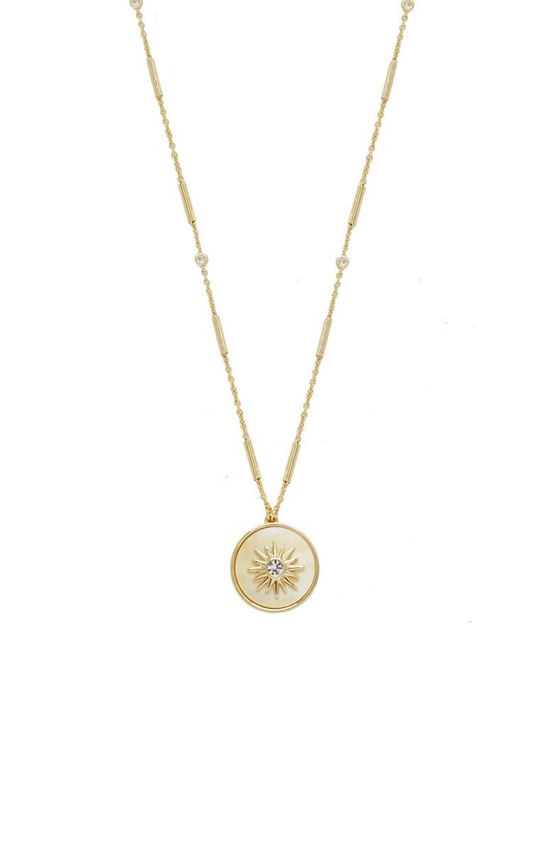 ETTIKA Starburst Disc Long Pendant Necklace, Main, color, GOLD
