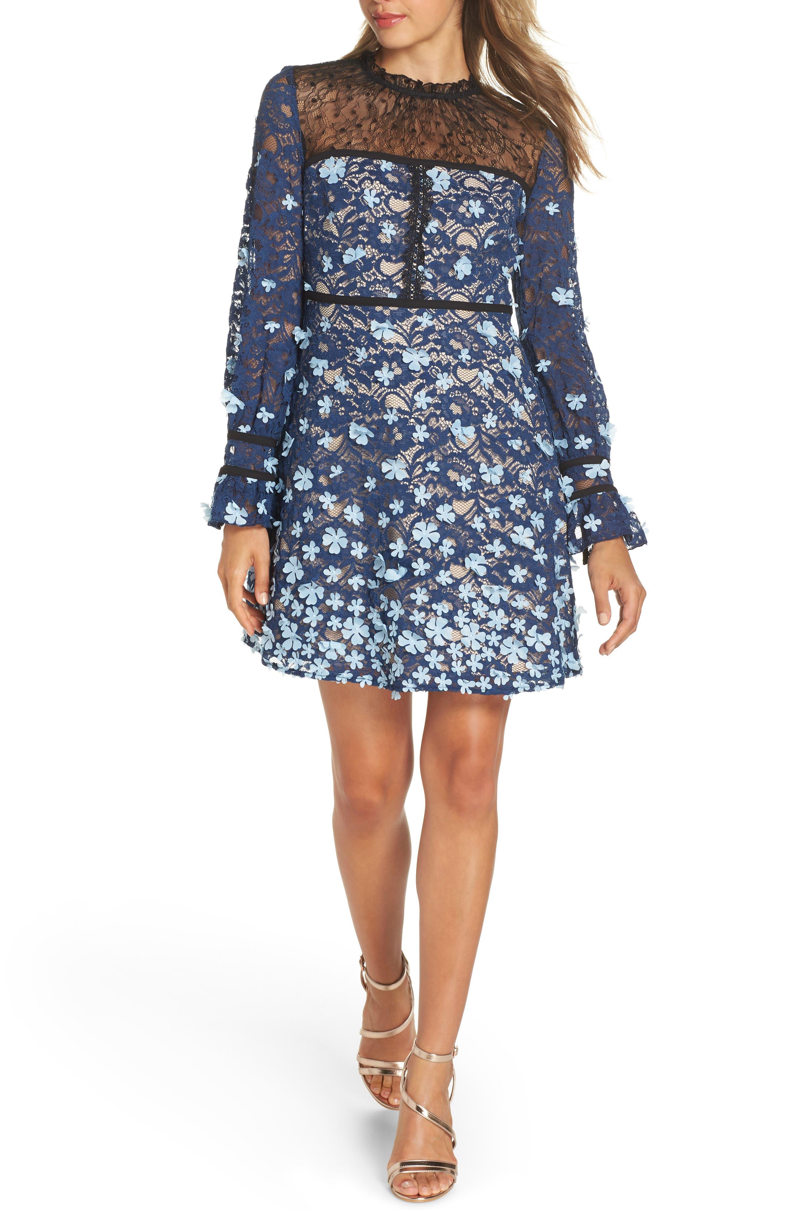 Foxiedox Felicia Floral Applique Dress, Blue