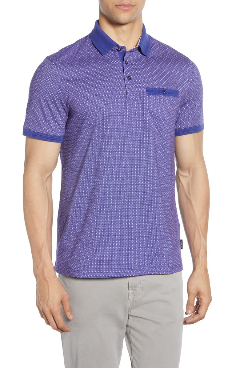 TED BAKER LONDON Trim Fit Geo Pocket Polo, Main, color, BLUE