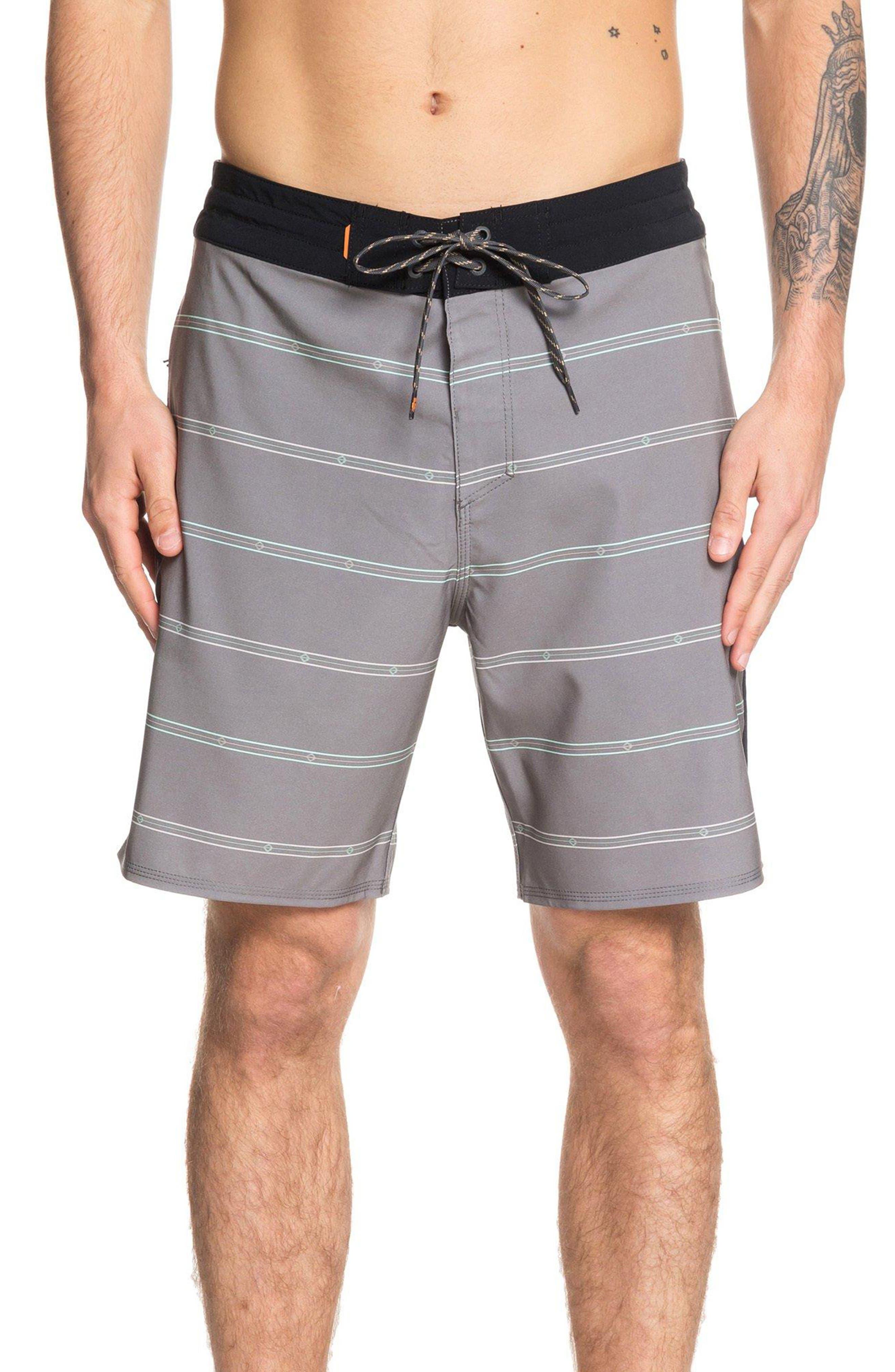 Quiksilver Waterman Collection Liberty Stripe Board Shorts, Black