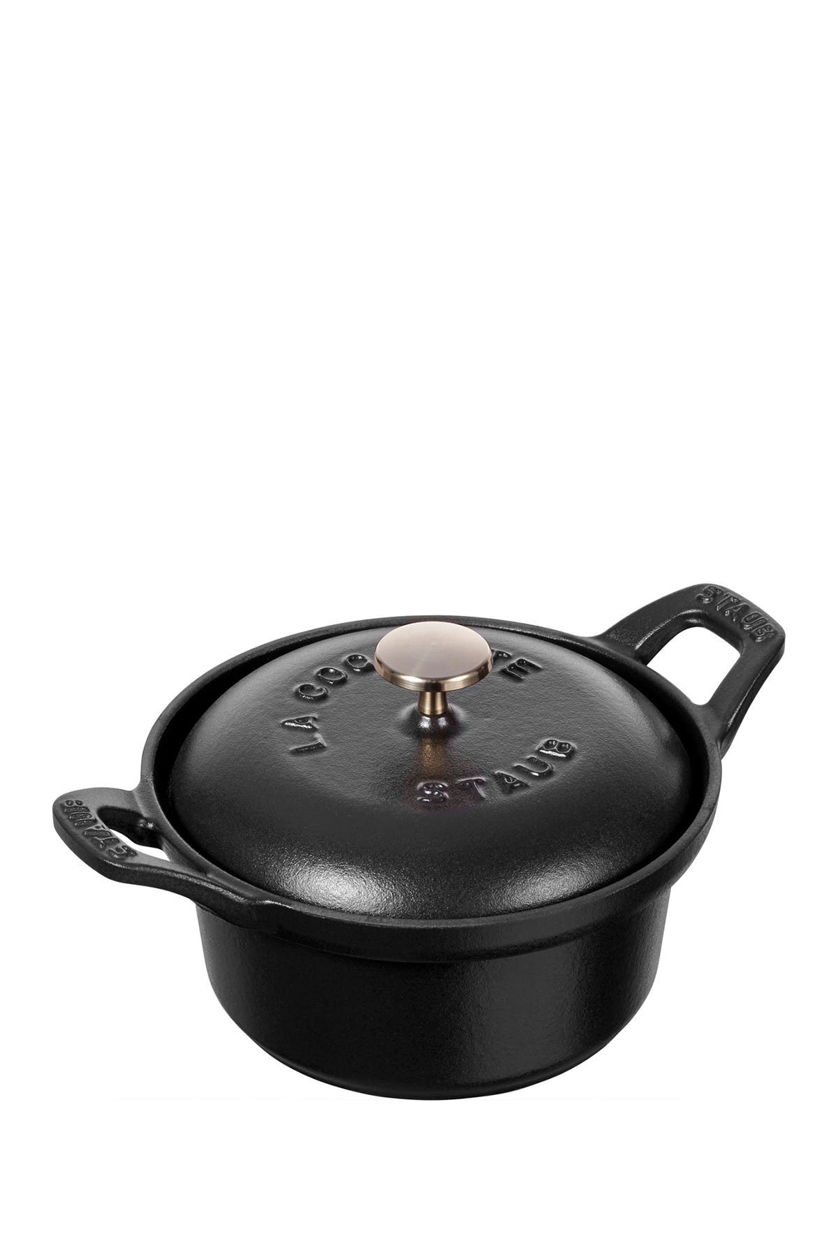Image of Staub Cast Iron 0.5-qt Round Cocotte - Black