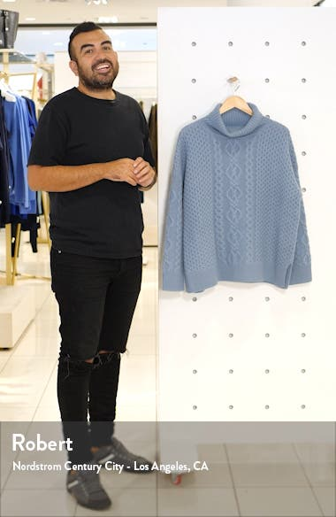 Oversize Cable Knit Cashmere Turtleneck Sweater, sales video thumbnail