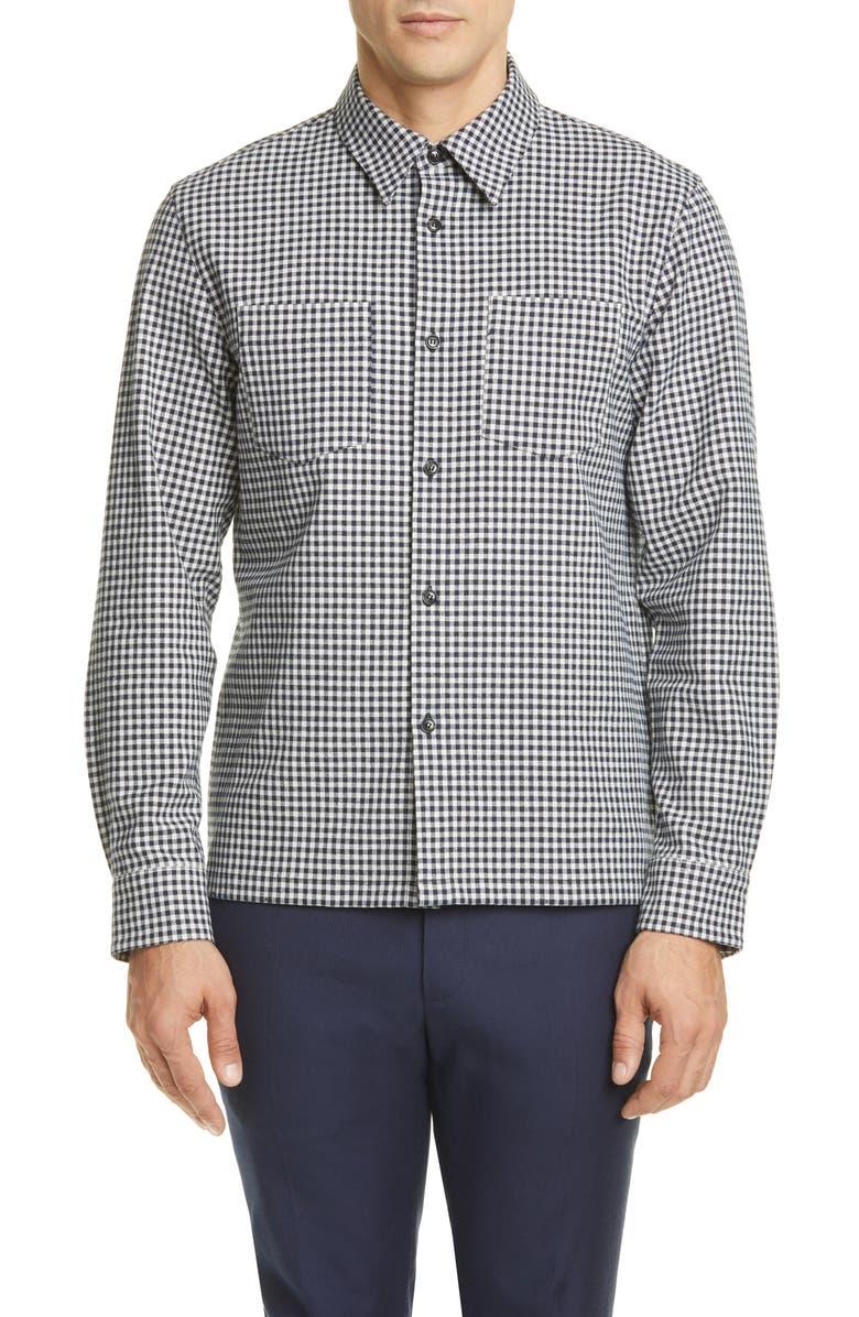A.P.C. Surchemise Pepper Check Shirt Jacket, Main, color, DARK NAVY
