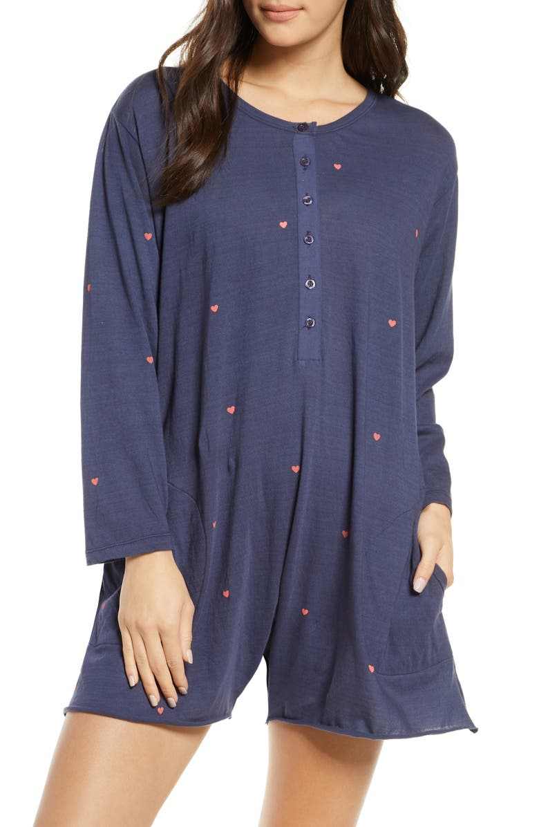 THE GREAT. The Henley Pajama Romper, Main, color, 400