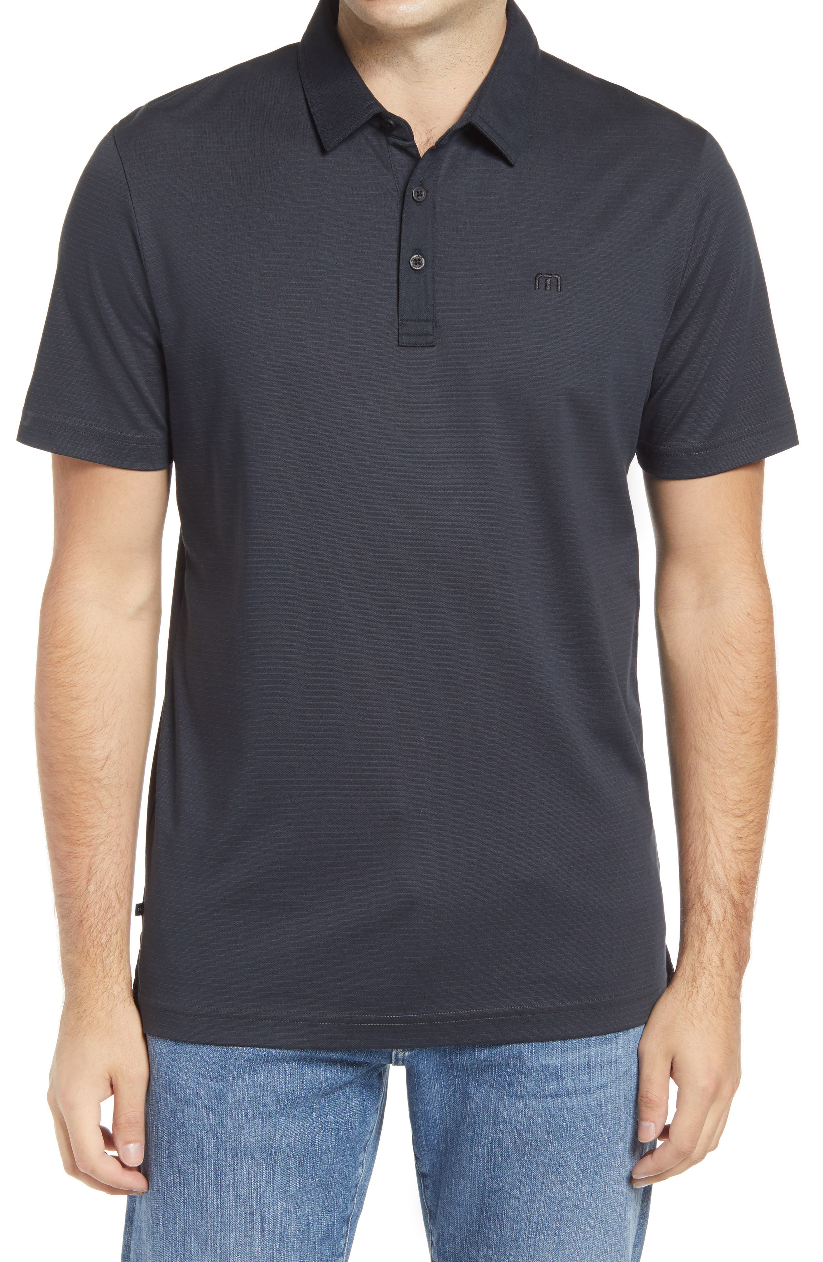 Chalky pinstripes ring an all-activity polo cut for comfort from a breathable cotton-blend pique knit with solid-color accents finishing the placket and collar. Style Name: Travismathew Faris Stripe Pique Polo. Style Number: 5835173. Available in stores.