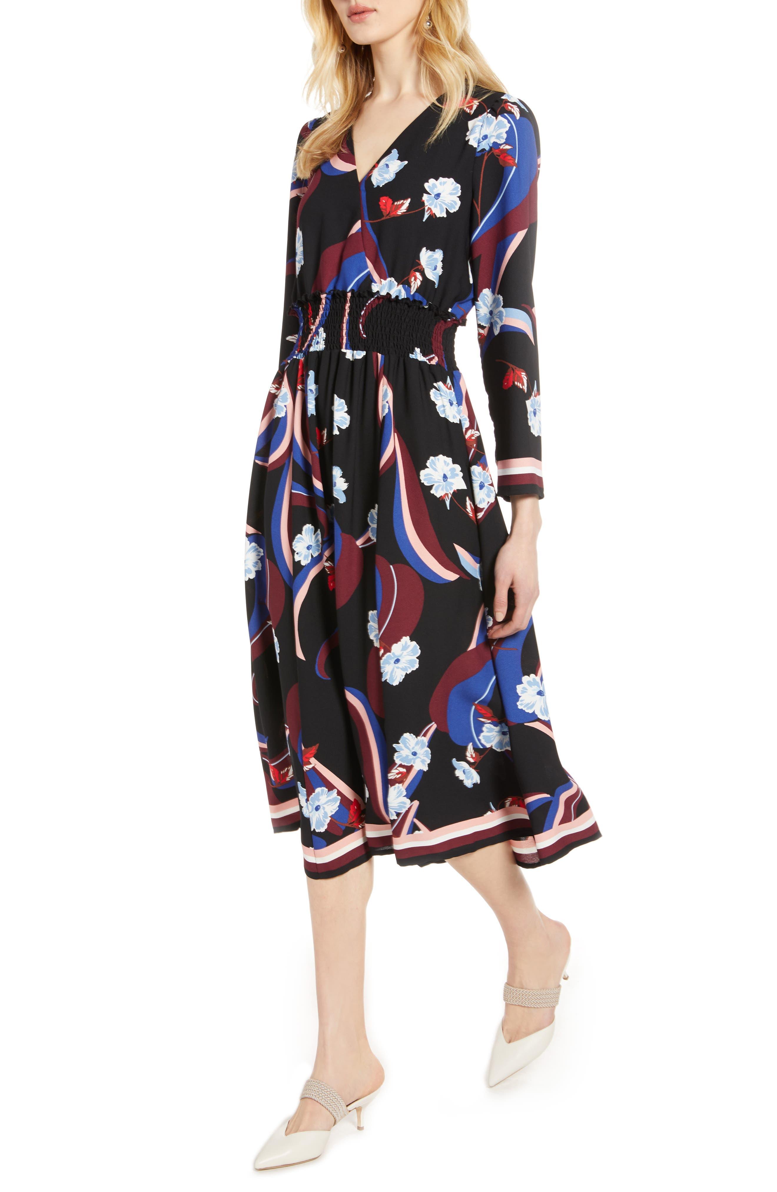 Halogen® Smock Waist Long Sleeve Dress (Regular, Petite & Plus Size)