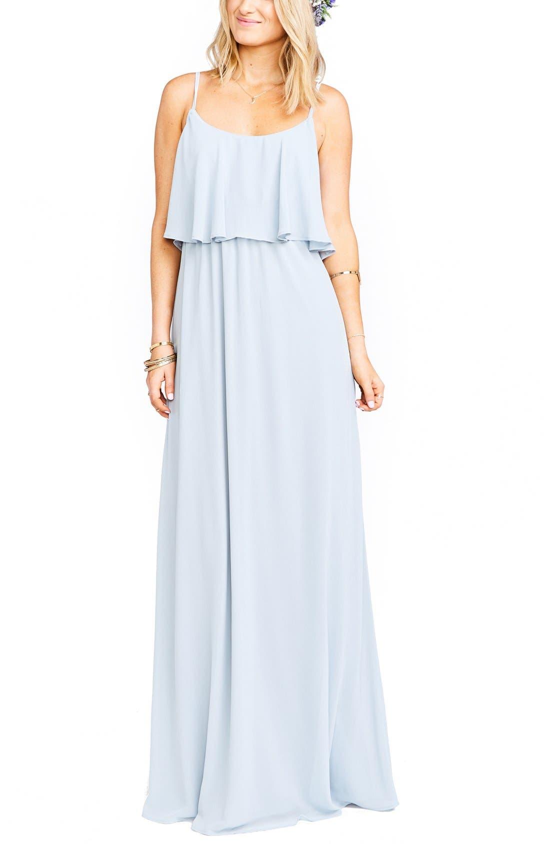 Show Me Your Mumu Caitlin Cold Shoulder Chiffon Gown, Blue