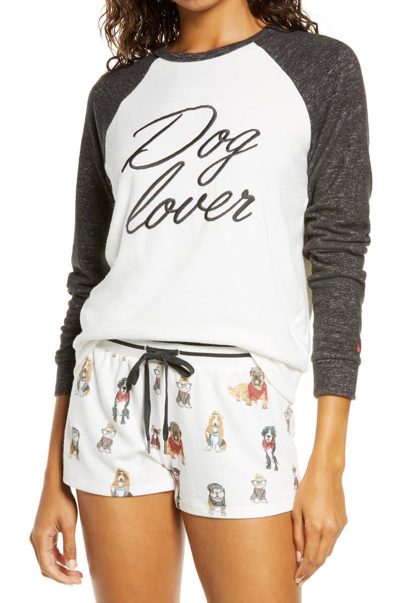PJ SALVAGE Hip Hound Embroidered Pajama Top, Main, color, IVORY