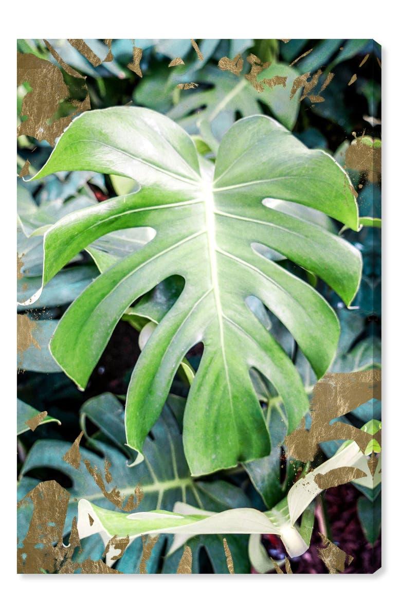 OLIVER GAL Monstera Jungle Canvas Wall Art, Main, color, GREEN