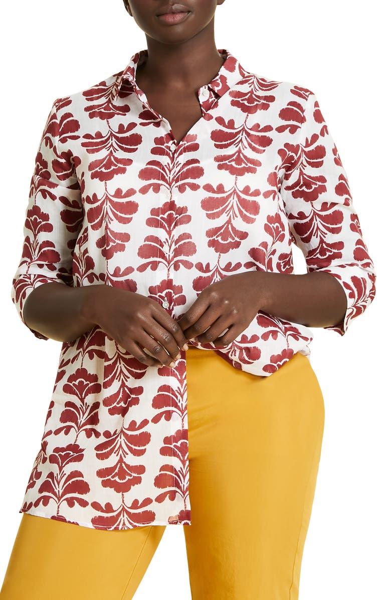 MARINA RINALDI Fusione Cotton Voile Shirt, Main, color, 101