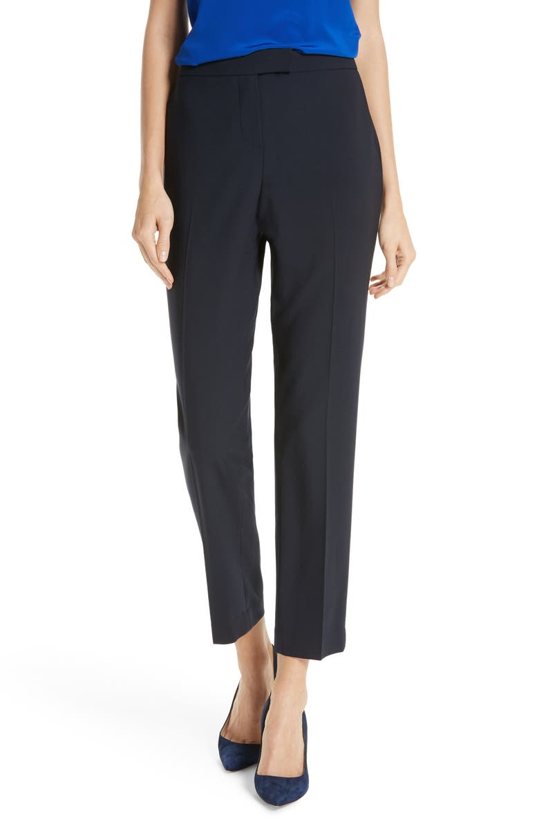 JUDITH & CHARLES Clive Ankle Stretch Wool Pants, Main, color, BLACK