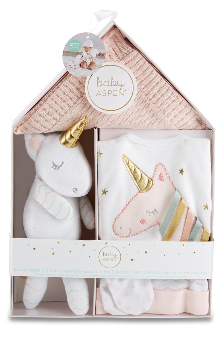 BABY ASPEN Simply Enchanted 5-Piece Gift Set, Main, color, PINK/ WHITE