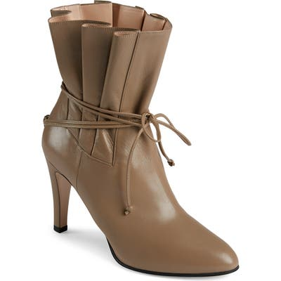 Gucci Indya Pleated Bow Tie Bootie, Brown