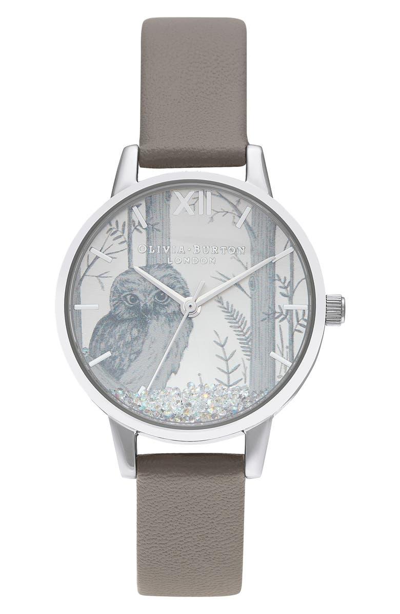 OLIVIA BURTON Snow Globe Faux Leather Strap Watch, 30mm, Main, color, LONDON GREY/ SILVER