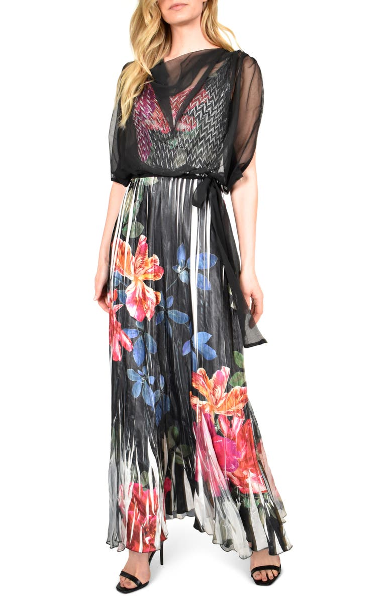 Floral Charmeuse & Chiffon Maxi Dress With Popover by Komarov