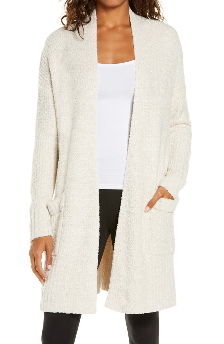 BAREFOOT DREAMS<SUP>®</SUP> CozyChic<sup>®</sup> Lite Long Weekend Cardigan, Main, color, STONE/ PEARL