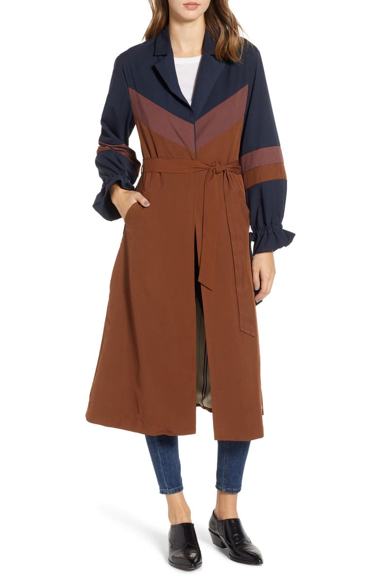 NEW FRIENDS COLONY Colorblock Trench Duster, Main, color, 239