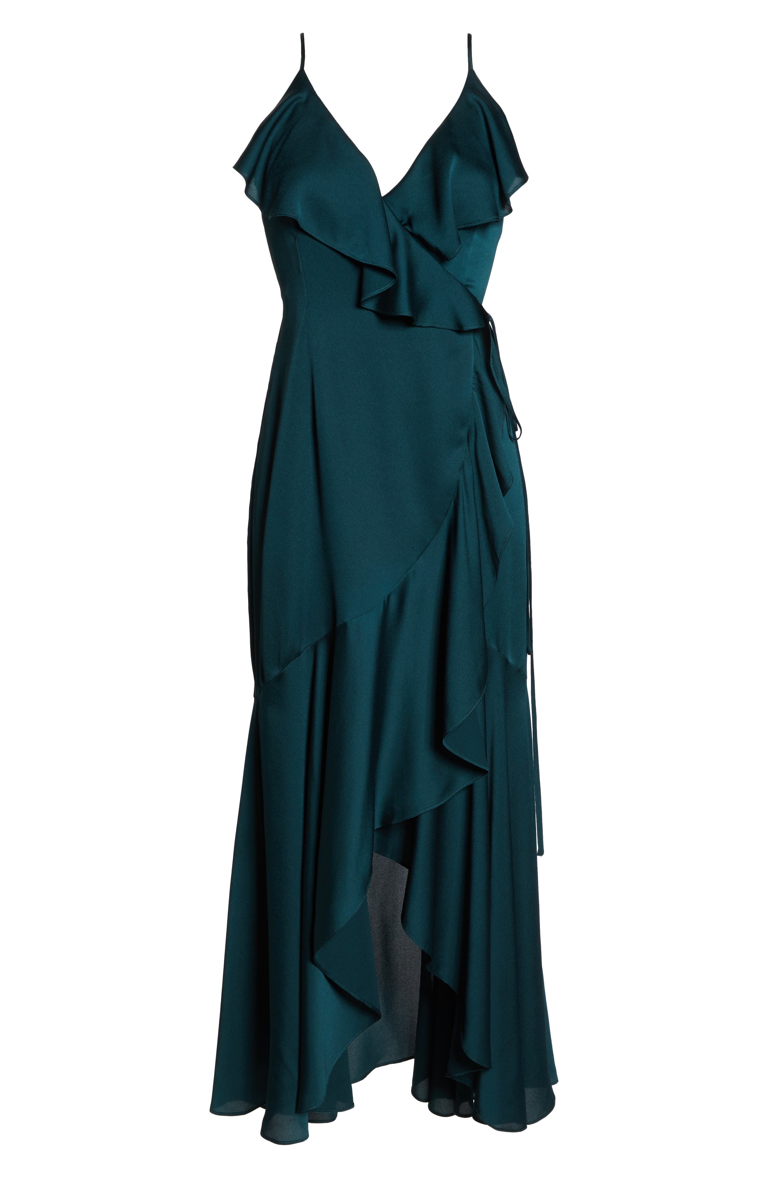 ,                             Luxe Ruffle Trim Wrap Gown,                             Alternate thumbnail 7, color,                             EMERALD