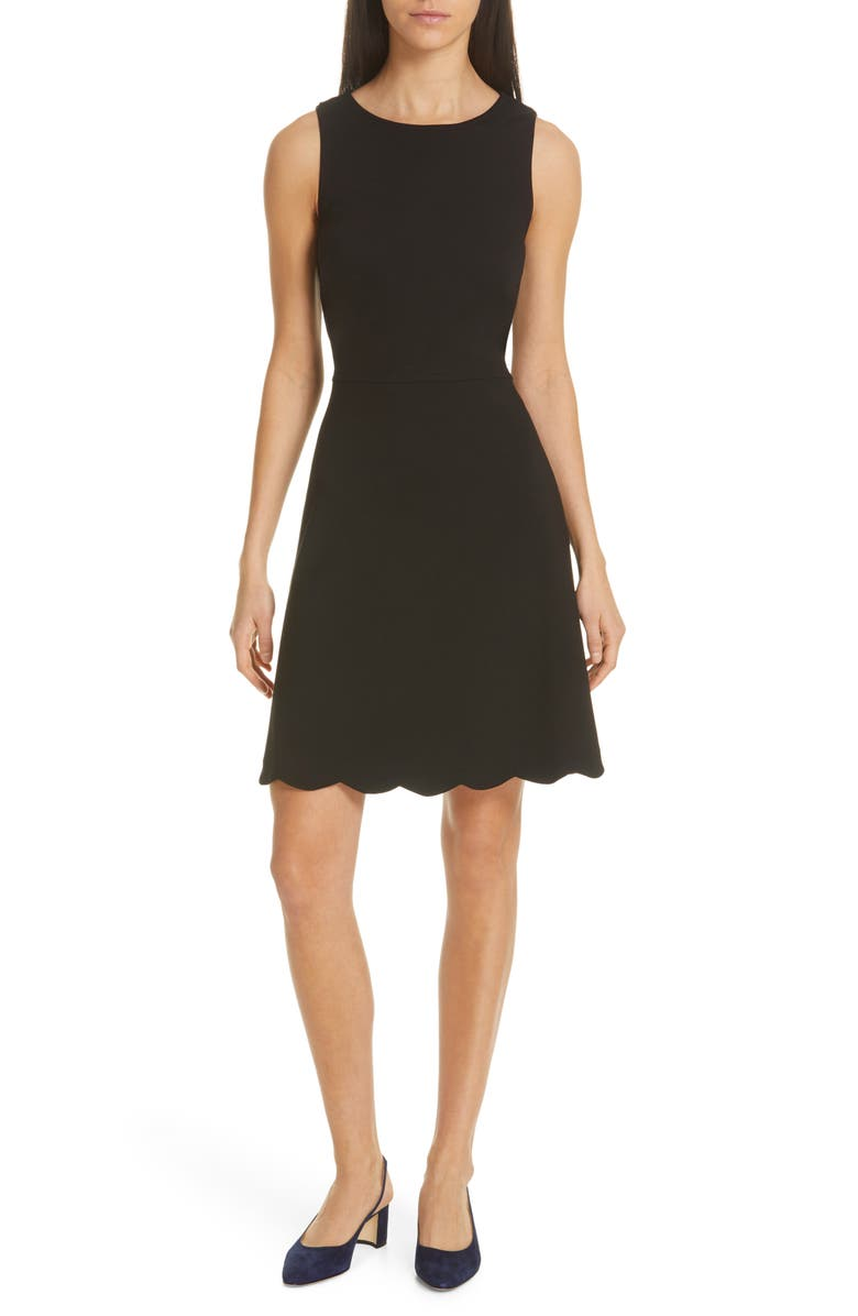 KATE SPADE NEW YORK scalloped ponte dress, Main, color, 001