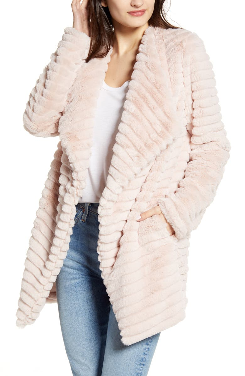 BB DAKOTA What A Girl Wants Faux Fur Coat, Main, color, PALE PINK