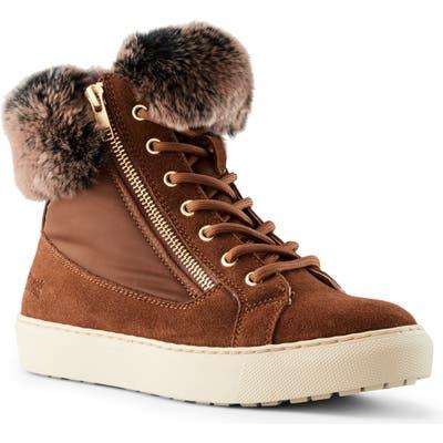 Cougar Danica Sneaker Boot With Genuine Rabbit Fur Trim, Brown