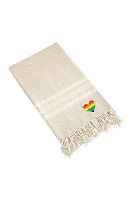 Image of LINUM HOME 100% Turkish Cotton Luxe Herringbone Cheerful Rainbow Heart Pestemal Beach Towel - Beige