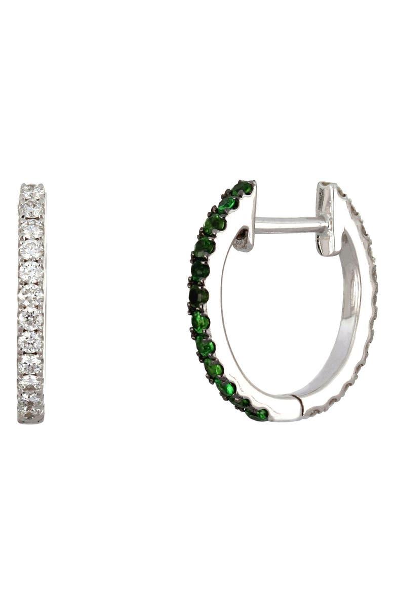 BONY LEVY Reversible Diamond & Tsavorite Hoop Earrings, Main, color, 711