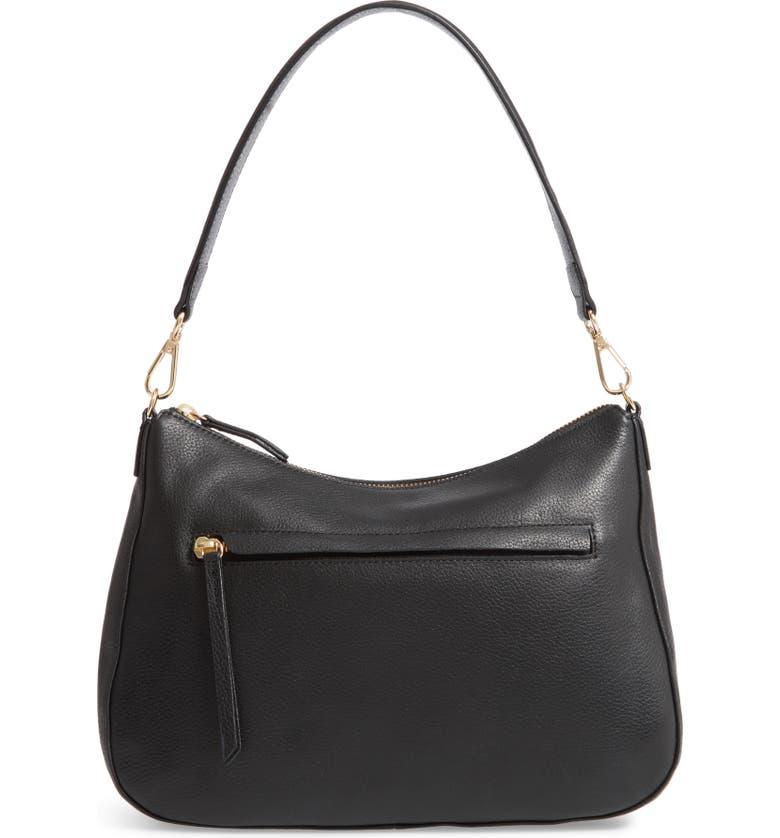 NORDSTROM Finn Convertible Leather Hobo, Main, color, BLACK