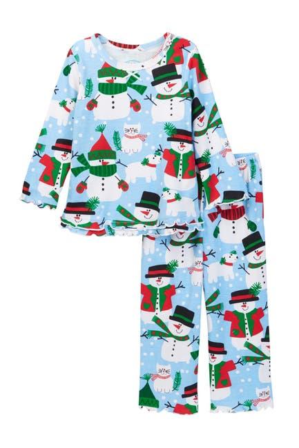 Image of SARAS PRINTS Printed Ruffle Hem Pajamas