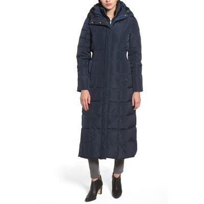 Petite Cole Haan Signature Water Repellent Quilted Coat With Inner Bib, Blue