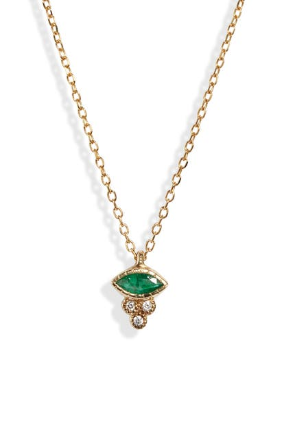 Jennie Kwon Designs Marquise Emerald Crown Necklace In Yellow Gold/ Diamond/ Emerald
