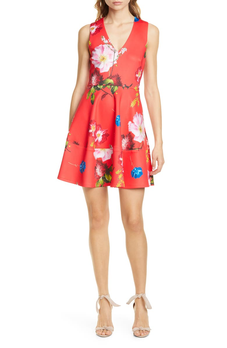 TED BAKER LONDON Kinle Floral Skater Dress, Main, color, RED