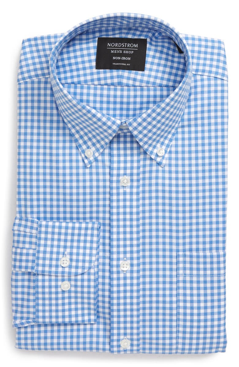 NORDSTROM MEN'S SHOP Traditional Fit Non-Iron Gingham Dress Shirt, Main, color, BLUE